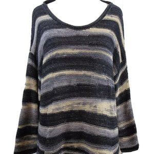 Ecote Urban Outfitters Black Gray Striped Sweater